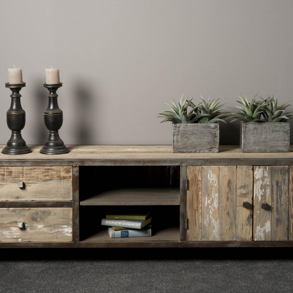 Industrieel tv meubel 180cm het woonmagazijn for Meubels industrieel