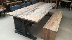 Oud eiken wagonplanken tafel
